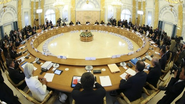 General view of the first working session of the G20 summit on September 5, 2013, in Saint Petersburg, Russia. (AFP PHOTO/POOL/SERGEI KARPUKHIN)