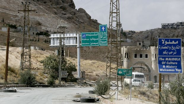 A picture taken on September 18, 2013 shows the road leading to Syria's ancient Christian town of Maalula. Inter-sectarian violence has long troubled Syria. (AFP PHOTO/ANWAR AMRO)