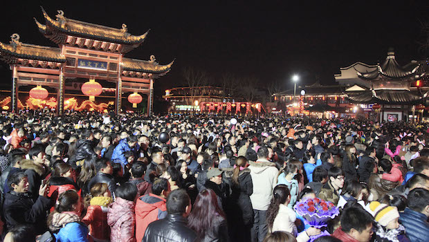 People visit the Confucius Temple to celebrate the Lantern Festival in Nanjing, in eastern China's Jiangsu province, in February 2014. (AP Photo)