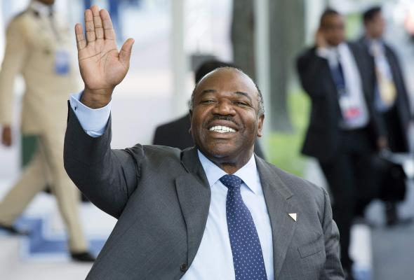 Gabon's President Ali Bongo Ondimba waving as he leaves at the end of the Nuclear Security Summit (NSS) in The Hague, March 2014.