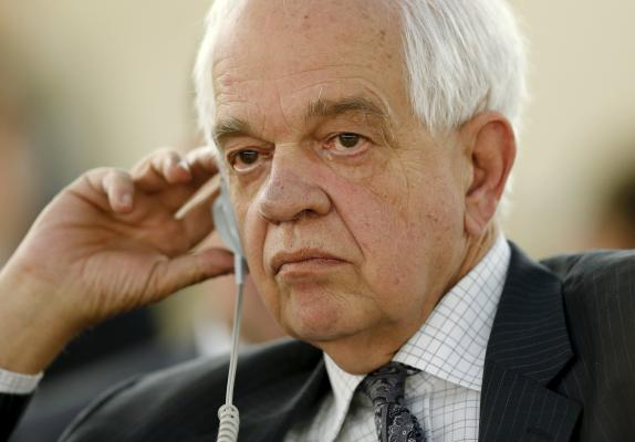 Canadian Immigration Minister John McCallum attends the meeting on global responsibility sharing through pathways for admission of Syrian refugees, in Geneva