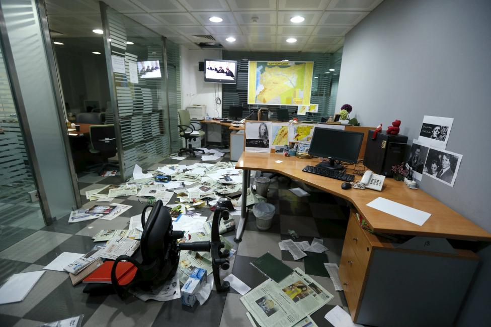 A view shows the mess after protesters attacked the office of Saudi-owned newspaper Asharq al-Awsat in Beirut