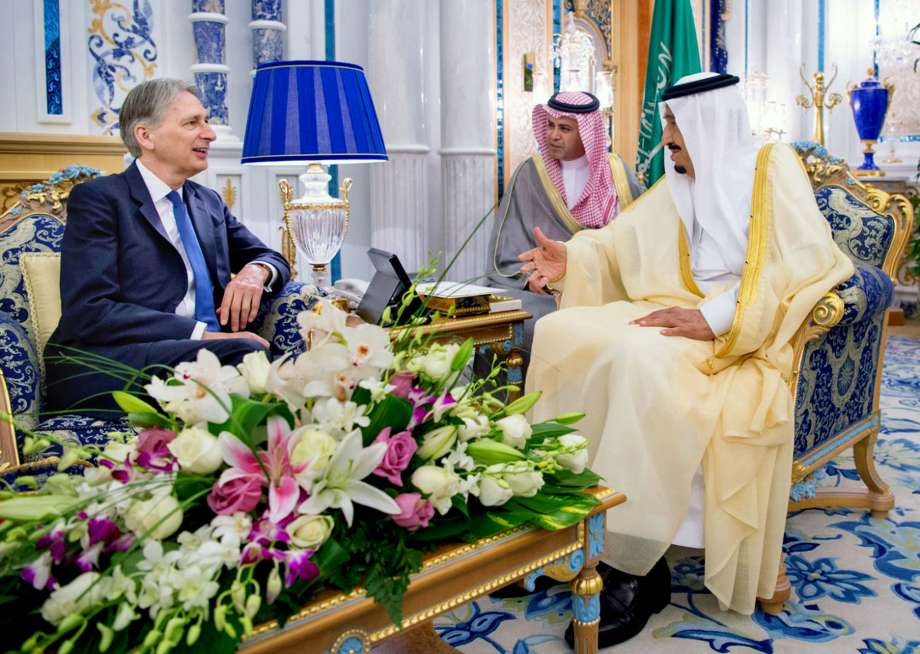 King Salman during his meeting with British Foreign Secretary Philip Hammond on May 29 in Jeddah. SPA