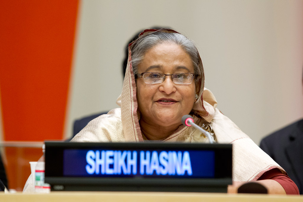 Prime Minister Sheikh Hasina of Bangladesh, one of the winners of the United Nations Champions of the Earth award.