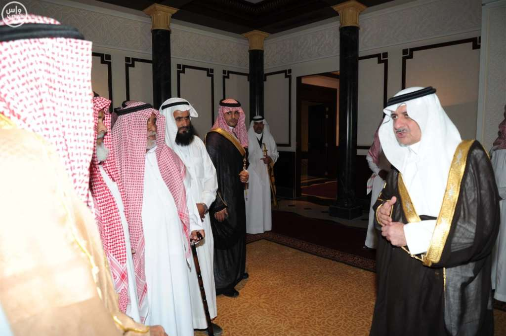 Emir of Tabuk Prince Fahd Bin Sultan recieving father of the Prophet's Mosque suicide attacker, S.P.A.