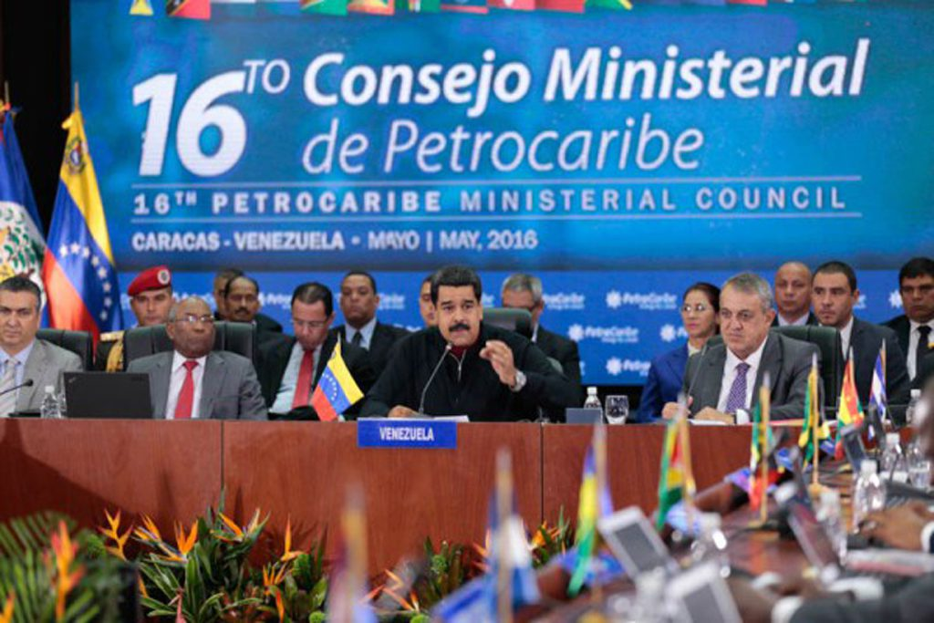 Venezuela's President Nicolas Maduro speaks during the 16th PetroCaribe Ministerial Council in Caracas
