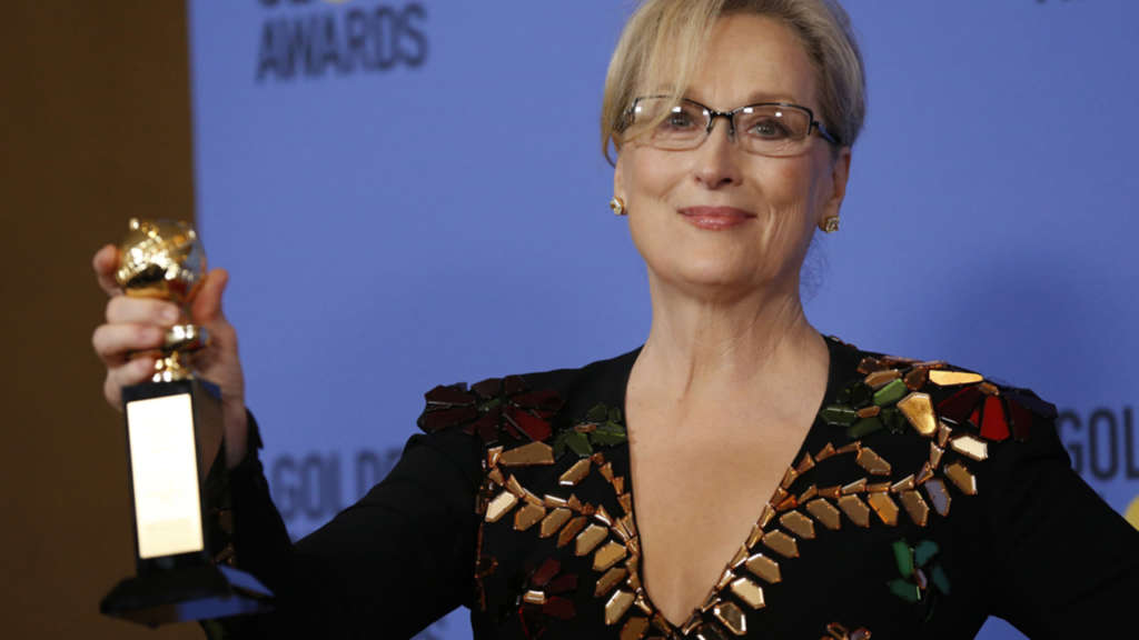 Meryl Streep holds the Cecil B. DeMille Award during the 74th Annual Golden Globe Awards. (Reuters/Mario Anzuoni)