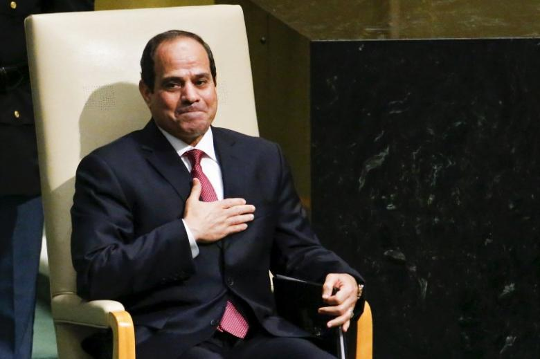 Egypt's President Abdel Fattah al-Sisi acknowledges attendees after addressing the 70th session of the United Nations General Assembly at the U.N. headquarters in New York
