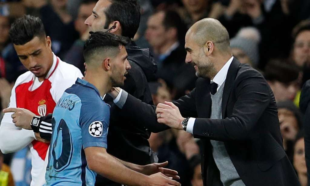 Pep Guardiola, pictured with Sergio Agüero, says of the first leg against Monaco 'it is special for football when two teams play like that'.