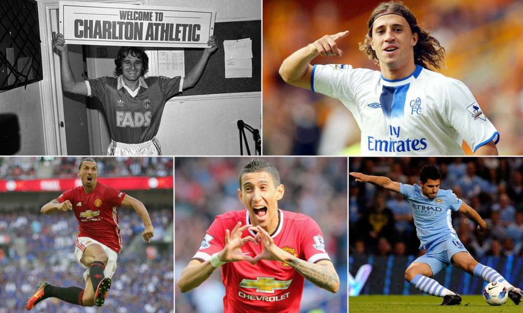 Hitting the ground running (clockwise from top left): Allan Simonsen, Hernán Crespo, Sergio Agüero, Ángel Di Maria and Zlatan Ibrahimovic.