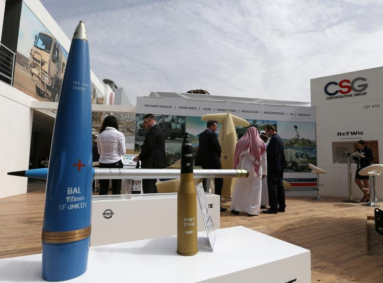 Munitions are on display during the International Defence Exhibition
