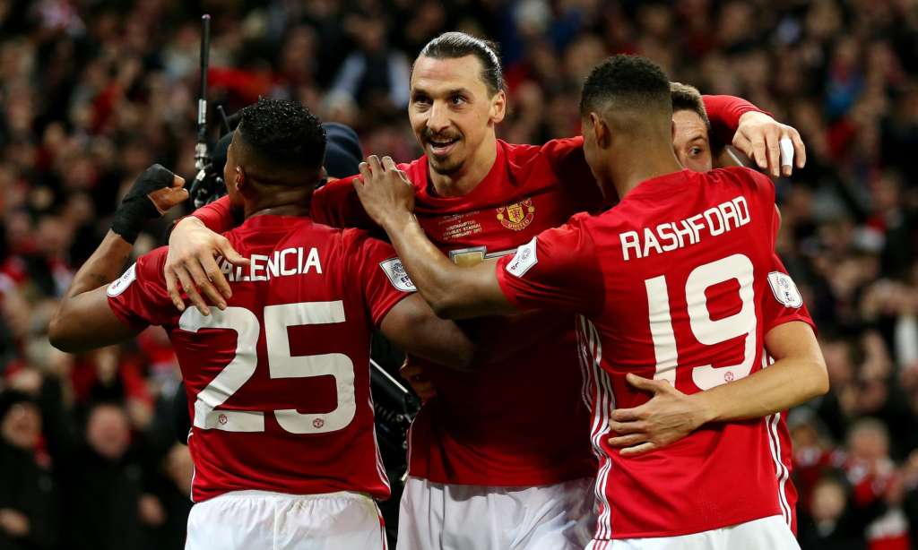 Zlatan Ibrahimovic celebrates scoring Manchester United's winner in the 3-2 victory over Southampton in the EFL Cup final at Wembley.