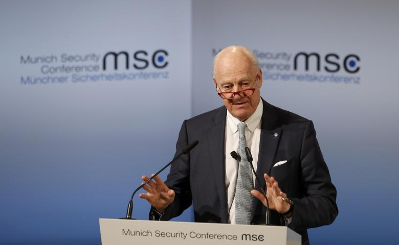 UN Special Envoy for Syria Staffan de Mistura delivers his speech during the 53rd Munich Security Conference in Munich, Germany, February 19, 2017. REUTERS/Michaela Rehle