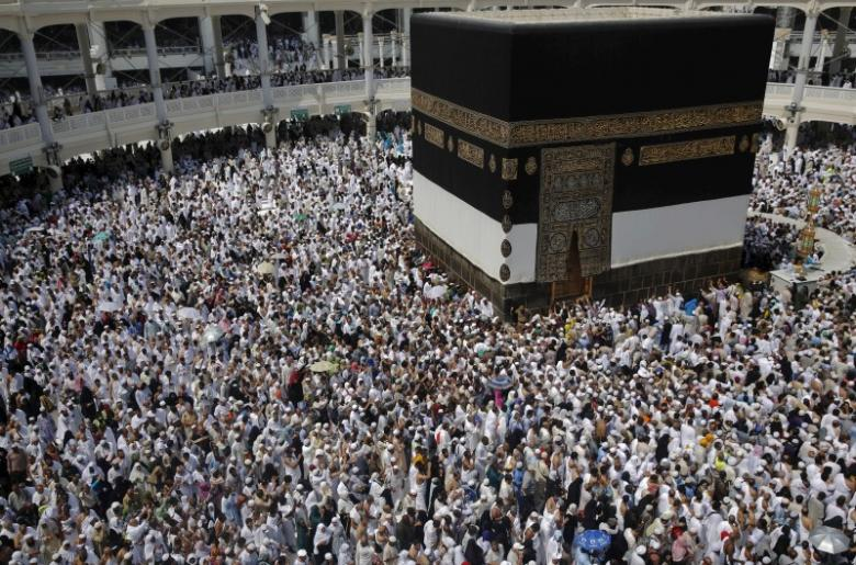 Muslim pilgrims pray around the holy Kaaba at the Grand Mosque ahead of the annual hajj pilgrimage in Mecca