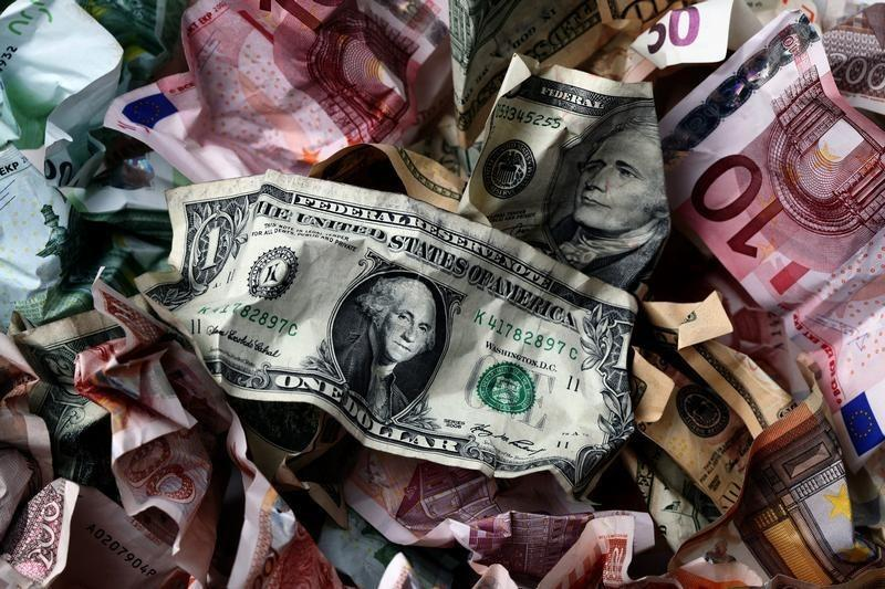 A picture illustration of crumpled kuna, Dollar and euro banknotes