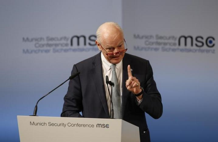 UN Special Envoy for Syria de Mistura delivers his speech during the 53rd Munich Security Conference in Munich