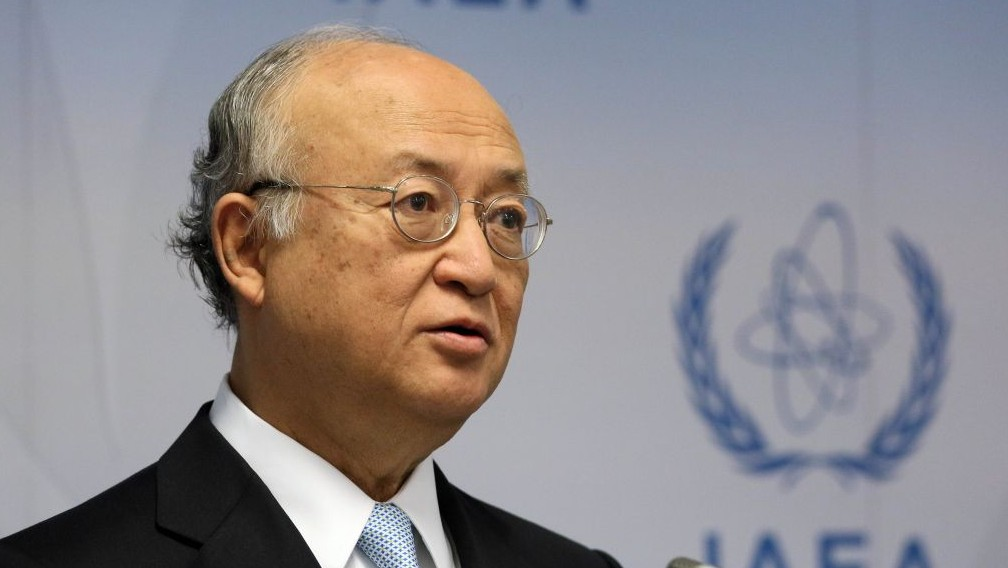 Director General of the International Atomic Energy Agency, Yukiya Amano of Japan, during a news conference after a meeting of the IAEA board of governors at the International Center in Vienna, Austria, June 8, 2015. AP
