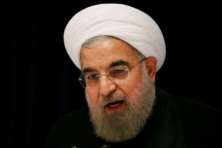 FILE PHOTO: Iranian President Hassan Rouhani speaks at a news conference near the United Nations General Assembly in the Manhattan borough of New York
