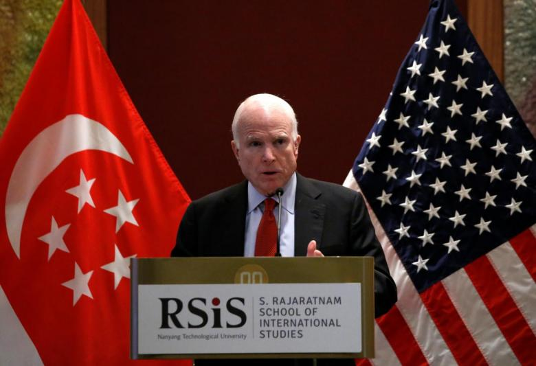 U.S. senator John McCain gives a public lecture on the sidelines of the IISS Shangri-La Dialogue in Singapore