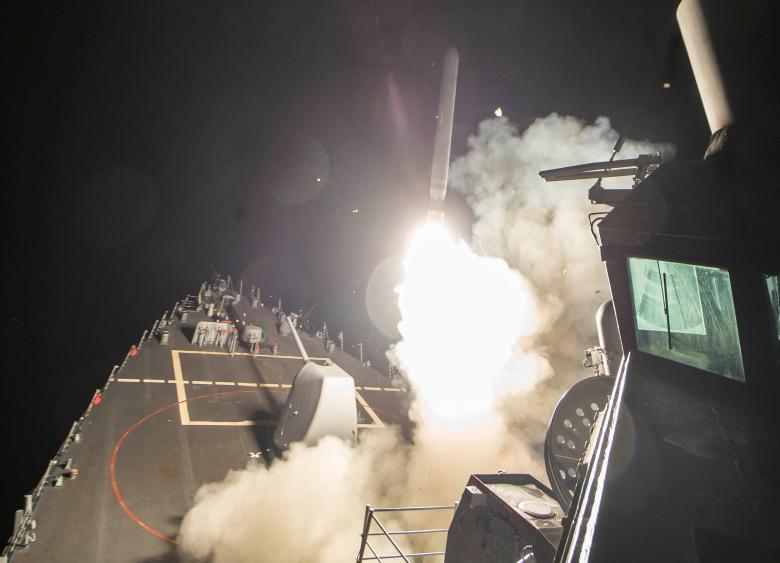 U.S. Navy guided-missile destroyer USS Ross (DDG 71) fires a tomahawk land attack missile in Mediterranean Sea