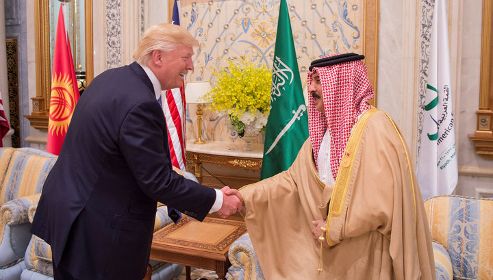 U.S. President Donald Trump shakes hands with Bahrain's King Hamad bin Isa Al Khalifa at the Gulf Cooperation Council leaders summit in Riyadh