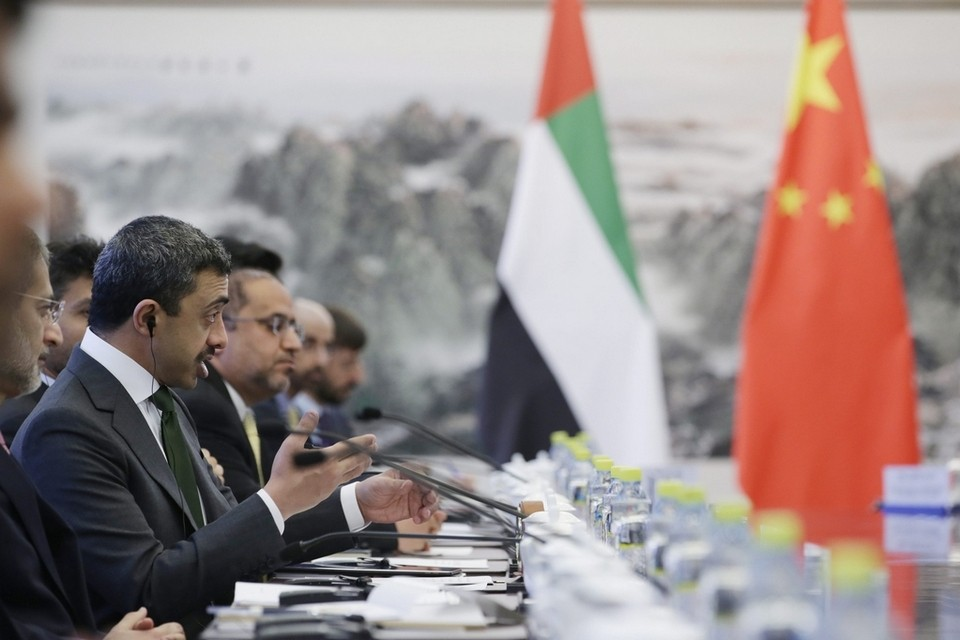 Sheikh Abdullah, left, speaks during a meeting with China's foreign minister Wang Yi (not pictured) at the Ministry of Foreign Affairs on May 2, 2017 in Beijing, China..