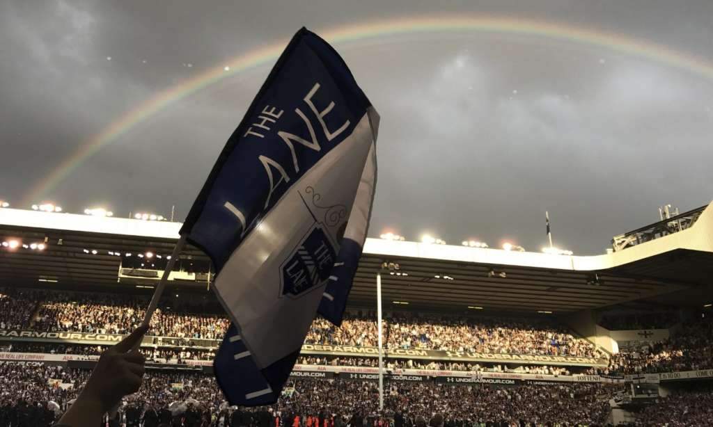 Mauricio Pochettino and his Tottenham squad embarked on a lap of honour around the White Hart Lane pitch just as a rainbow broke out across the sky. Photograph: Rob Harris/AP