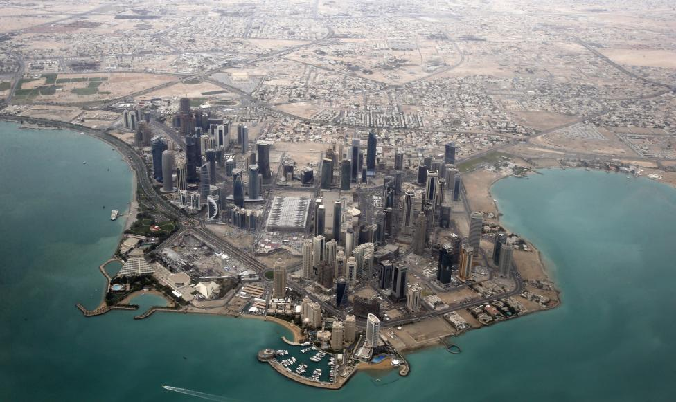 An aerial view shows the diplomatic area of Doha, Qatar.