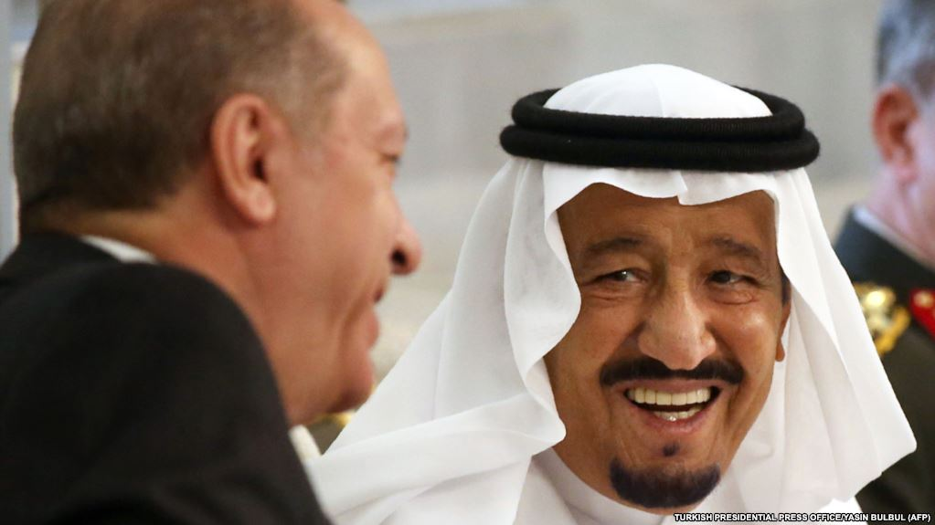 Turkish President Recep Tayyip Erdogan (left) meets with Saudi Arabia's King Salman on July 23.