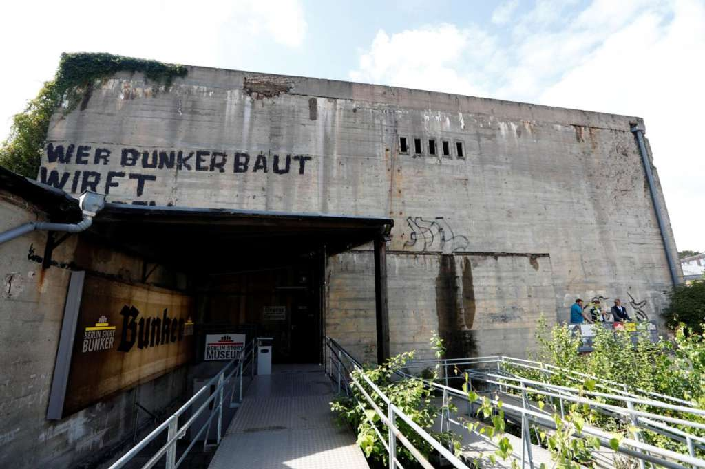 A general view shows the location of an exhibition about German Nazi leader Adolf Hitler in a World War Two bunker in Berlin