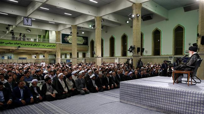 Leader of the Islamic Revolution Ali Khamenei speaks with officials in charge of the annual Hajj pilgrimage in Tehran on July 30, 2017.