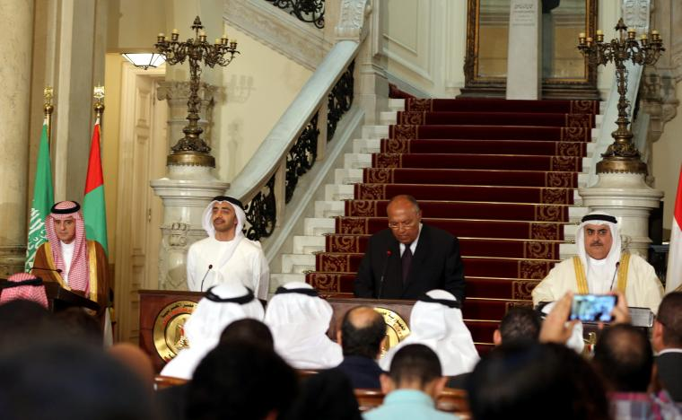 Arab foreign ministers attend a press conference after their meeting that discussed the diplomatic situation with Qatar, in Cairo