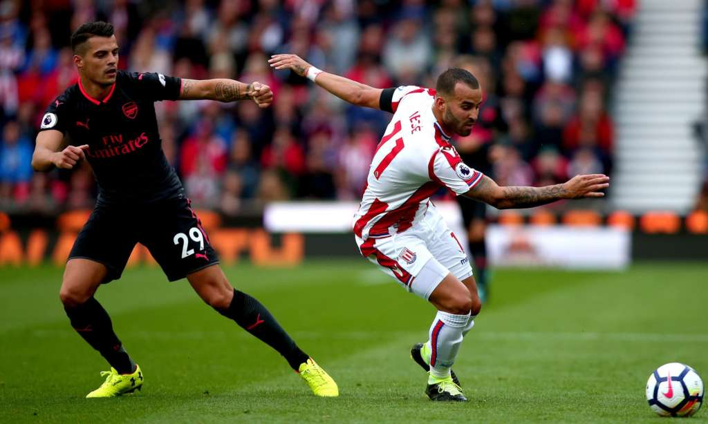 The Arsenal midfielder Granit Xhaka, left, failed to track Jesé Rodríguez, right, leading to Stoke's winner.