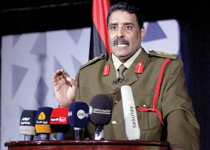Libyan Army spokesman Colonel Ahmed al-Mesmari speaks during a news conference in the coastal city of Benghazi.