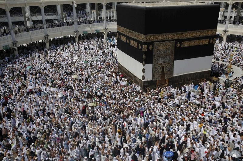 Muslim pilgrims pray around the holy Kaaba at the Grand Mosque ahead of the annual haj pilgrimage in Mecca