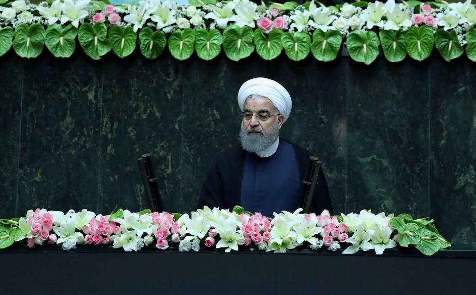 Iranian president Hassan Rouhani attends his swearing-in ceremony for a further term, at the parliament in Tehran