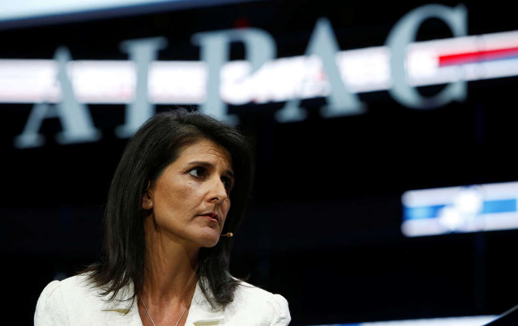 Ambassador to the United Nations NIkki Haley speaks at the AIPAC conference in Washington, DC, March 27, 2017.