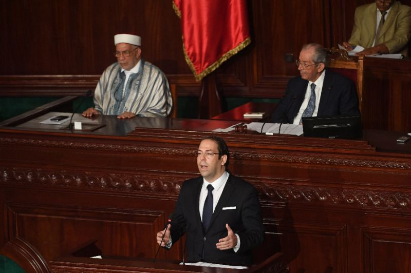 Tunisian Prime Minister Youssef Chahed addresses parliament in Tunis on July 20, 2017