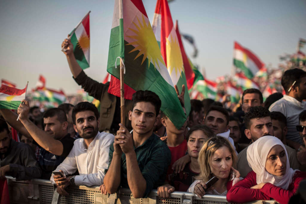 People at a rally this month for an independent Kurdistan, in Erbil