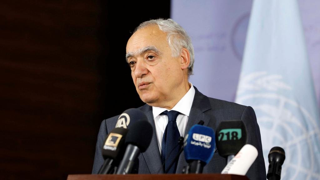 UN envoy to Libya Ghassan Salameh attends a news conference with prime minister of Libya's Government of National Accord Fayez Al Sarraj in Tripoli, Libya on August 5, 2017.