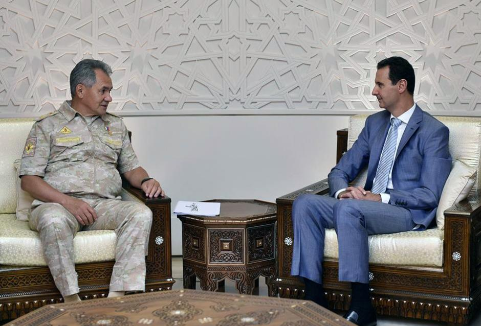 Russian Defence Minister Sergei Shoigu meets with Syrian President Bashar al-Assad in Damascus