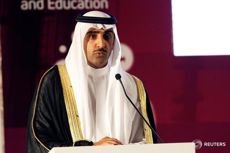 Bahrain's Minister of Oil, Sheikh Mohammed bin Khalifa al-Khalifa speaks during the opening of the Middle East Petrotech 2016 in Manama