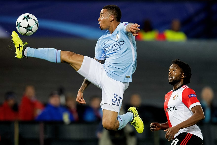 Jesus acrobatically controls the ball during Manchester City's 4-0 Champions League win over Feyenoord.
