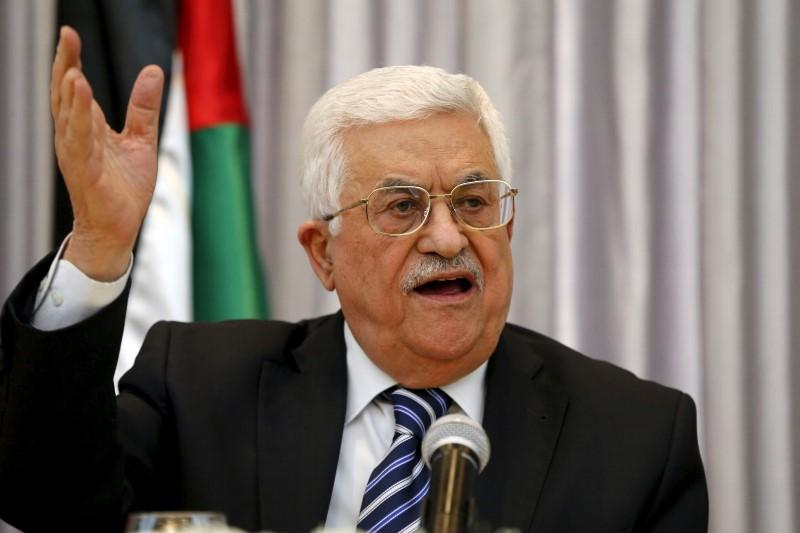 Palestinian President Mahmoud Abbas gestures as he delivers a speech in the West Bank city of Bethlehem
