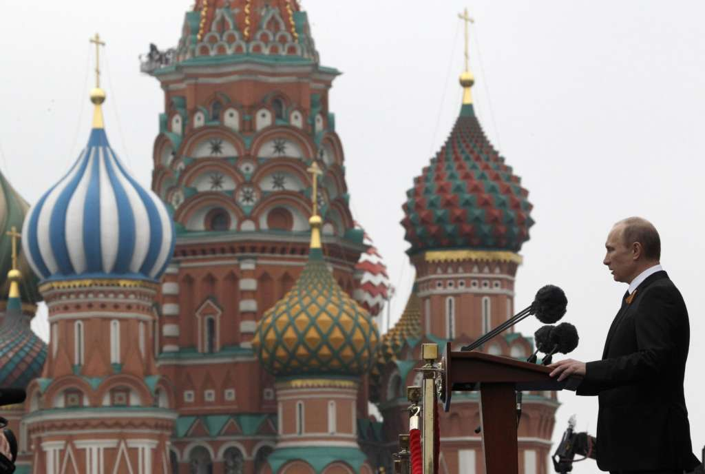 Russian President Vladimir Putin in Red Square, Moscow, Russia with St. Basil's in the background.