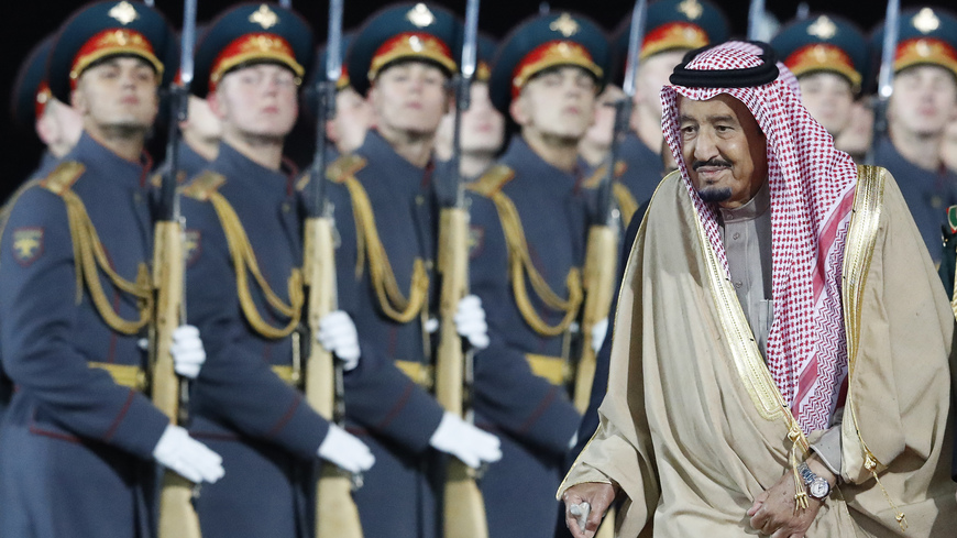 Saudi Arabia's King Salman arrives at Vnukovo airport outside Moscow