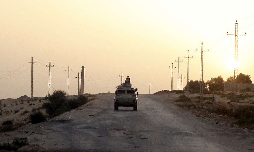 An Egyptian military vehicle in northern Sinai. Reuters