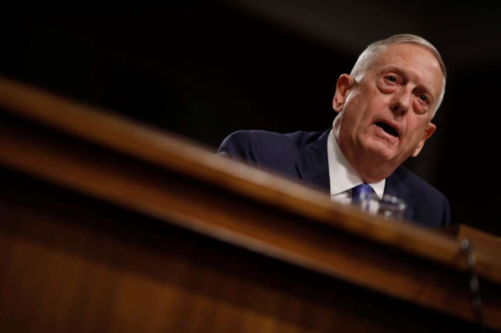 """US Secretary of Defense James Mattis testifies before a Senate Armed Services Committee hearing on the """"Political and Security Situation in Afghanistan"""" on Capitol Hill in Washington"""