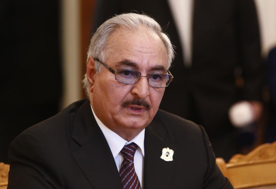 General Haftar, commander in the Libyan National Army, attends a meeting with Russian Foreign Minister Lavrov in Moscow