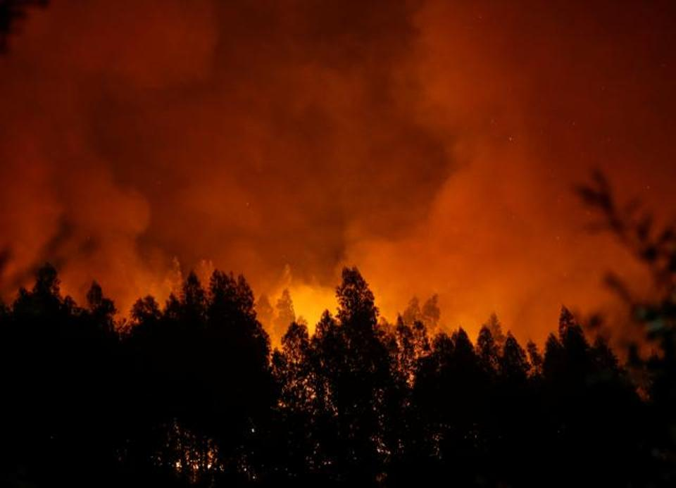 Smoke and flames from a forest fire are seen near Lousa, Portugal, October 16, 2017. (REUTERS)